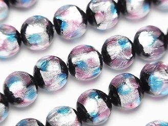 天然石卸 とんぼ玉 ラウンド10mm 【ピンク×ライトブルー】 1/4連〜1連(約36cm)