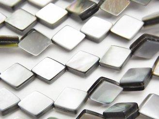 天然石卸 高品質ブラックシェル(黒蝶貝) ダイヤ10×7×3mm 半連/1連(約38cm)