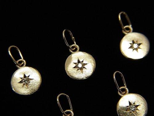 【動画】【日本製】【K10 Yellow Gold】 ダイヤモンド付きコイン型チャーム5.5×5.5×1mm 1個
