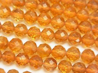 天然石卸 素晴らしい輝き!宝石質シトリンAAA- 64面ラウンドカット6mm 【ミディアムカラー】 半連/1連(約37cm)