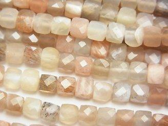 天然石卸 素晴らしい輝き!マルチカラームーンストーンAA++ キューブカット4×4×4mm 半連/1連(約38cm)
