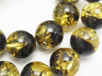 天然石卸 1連12,800円!バルティックアンバー(琥珀) ラウンド16mm イエロー×ブラック 1連(ブレス)