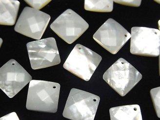 天然石卸 高品質ホワイトシェル(白蝶貝)AAA 穴あきダイヤカット13×13×4mm 4粒580円!