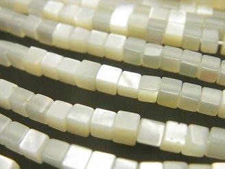 天然石卸 高品質ホワイトシェル(白蝶貝)AAA キューブ3×3×3mm 半連/1連(約37cm)