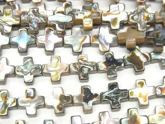 天然石卸 アバロンシェル(鮑) クロス(十字架)8×8×3.5mm 1/4連〜1連(約37cm)