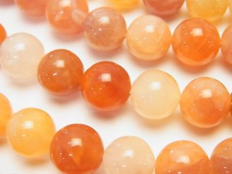 天然石卸 ピンクオレンジボツワナアゲート ラウンド10mm 半連/1連(約37cm)