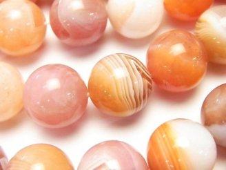 天然石卸 ピンクオレンジボツワナアゲート ラウンド16mm 半連/1連(約37cm)