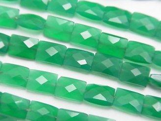 天然石卸 1連2,780円!宝石質グリーンオニキスAAA レクタングルカット7×5mm 1連(約18cm)