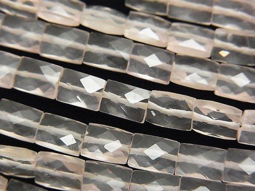宝石質ローズクォーツAAA- レクタングルカット7×5mm 1連(約18cm)