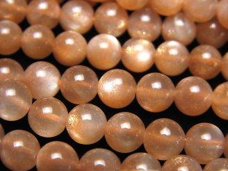 天然石卸 宝石質オレンジムーンストーンAAA ラウンド6mm 半連/1連(約38cm)