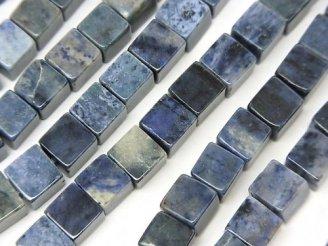 天然石卸 1連680円!デュモルチェライト キューブ6×6×6mm 1連(約37cm)
