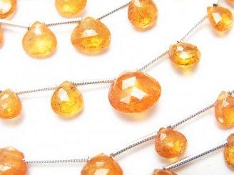 天然石卸 1連2,980円!宝石質マンダリンガーネットAAA- マロン ブリオレットカット 1連(約16cm)