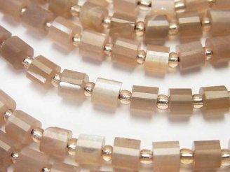 天然石卸 ブラウンムーンストーンAA++ チューブカット6×6×5mm 半連/1連(約37cm)