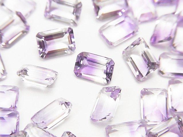 宝石質バイカラーアメジストAAA 穴なしレクタングルファセットカット7×5mm 4粒