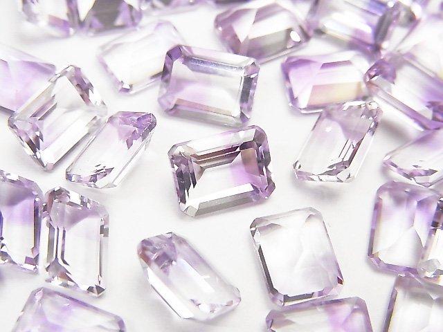 宝石質バイカラーアメジストAAA 穴なしレクタングルファセットカット8×6mm 3粒