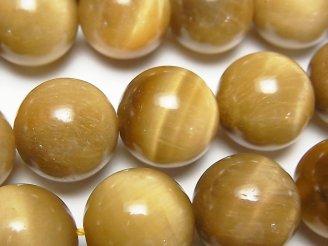 天然石卸 ゴールデンタイガーアイAA++ ラウンド16mm 半連/1連(約37cm)