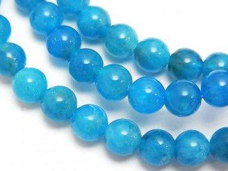 天然石卸 1連1,580円!マダガスカル産ブルーアパタイトAA++ ラウンド6mm 1連(ブレス)