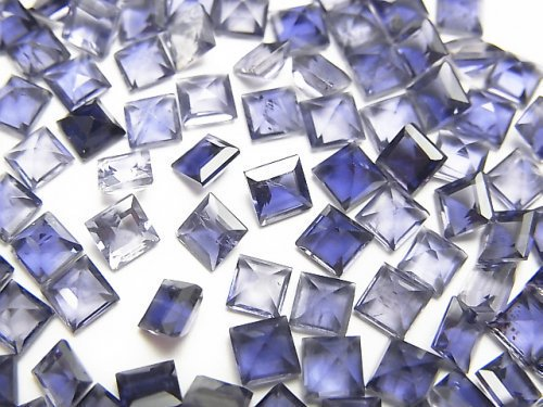 宝石質アイオライトAAA 穴なしスクエアファセットカット4×4mm 5粒