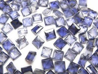 天然石卸 宝石質アイオライトAAA 穴なしスクエアファセットカット4×4mm 5粒480円!