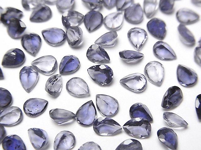 宝石質アイオライトAAA 穴なしペアシェイプファセットカット5×4mm 10粒