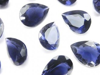 天然石卸 宝石質アイオライトAAA 穴なしペアシェイプファセットカット14×10mm 1粒1,380円!