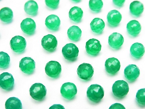 宝石質グリーンオニキスAAA 片穴ラウンドカット4mm 10粒