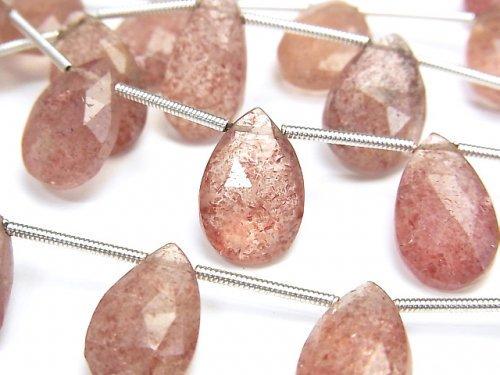 宝石質ピンクエピドートAA++ ペアシェイプ ブリオレットカット 1連(約15cm)