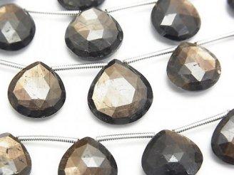 天然石卸 マダガスカル産ゴールデンシーンサファイアAAA マロン ブリオレットカット 半連/1連(約17cm)