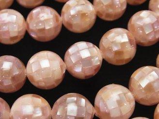 天然石卸 モザイクシェル ピンクブラウン ラウンド12mm 1/4連〜1連(約36cm)