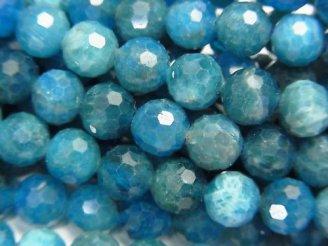 天然石卸 素晴らしい輝き!1連1,580円!ブルーアパタイトAA++ 128面ラウンドカット7mm 1連(約38cm)