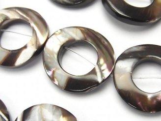 天然石卸 1連1,180円!マザーオブパール ブラウン4 コイン(ドーナツ)20×20×4mm 1連(約36cm)