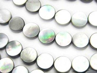 天然石卸 1連580円!高品質ブラックシェル(黒蝶貝)AAA フラットコイン8×8×2mm 1連(約37cm)