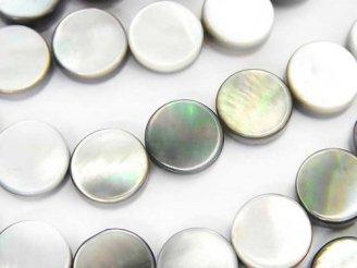 天然石卸 1連580円!高品質ブラックシェル(黒蝶貝)AAA フラットコイン10×10×3mm 1連(約37cm)