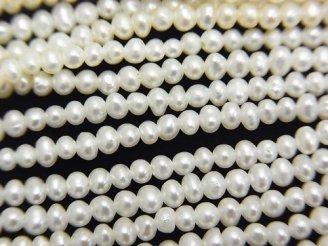 天然石卸 1連1,980円!淡水真珠AAA ポテト2〜2.5mm ホワイト 1連(約37cm)