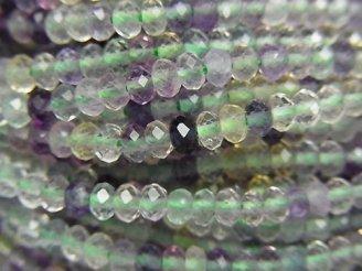 天然石卸 素晴らしい輝き!1連780円!マルチカラー フローライトAAA- 極小ボタンカット3×3×2 1連(約38cm)