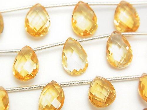 宝石質シトリンAAA ペアシェイプ ブリオレットカット 半連/1連(約17cm)