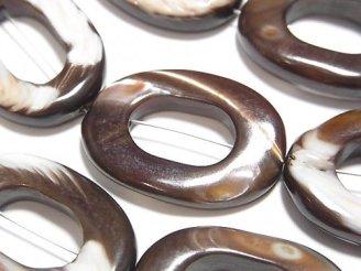 天然石卸 マザーオブパール ブラウン オーバル(ドーナツ)30×20×4mm 半連/1連(約32cm)