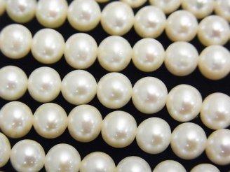 天然石卸 1連1,980円!淡水真珠AAA セミラウンド6mm ホワイト 1連(約38cm)