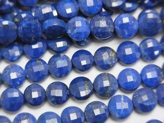 天然石卸 素晴らしい輝き!1連1,480円!ラピスラズリAA++ コインカット6×6×3mm 1連(約37cm)