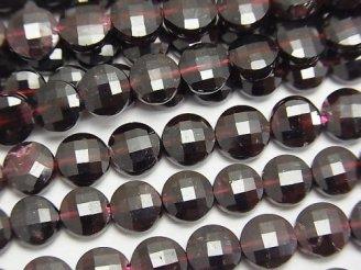 天然石卸 素晴らしい輝き!1連1,380円!ガーネットAA++ コインカット6×6×3mm 1連(約37cm)