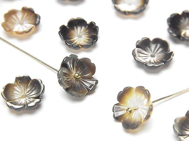 高品質ブラックシェル(黒蝶貝)AAA 立体フラワー 10mm 中央穴 4枚420円!の画像