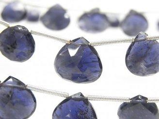 天然石卸 1連2,980円〜!宝石質アイオライトAAA- 大粒マロン ブリオレットカット 1連(約16cm)
