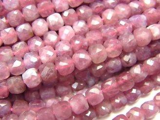 天然石卸 素晴らしい輝き!ピンクトルマリンAA++ キューブカット4.5×4.5×4.5mm 半連/1連(約38cm)