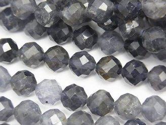 天然石卸 素晴らしい輝き!1連1,480円!アイオライトAA+ 64面ラウンドカット7mm 1連(約37cm)