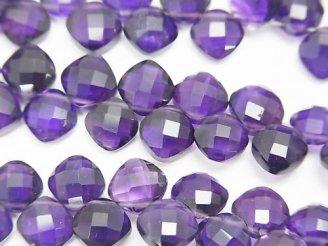 天然石卸 宝石質ザンビア産アメジストAAA- ダイヤカット7×7mm 【ダークカラー】 半連/1連(約19cm)