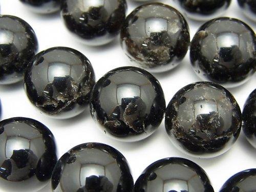 チベット産モリオン(黒水晶)AA++ ラウンド14mm 半連/1連(約36cm)