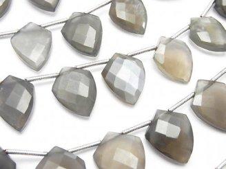 天然石卸 1連1,580円〜!宝石質グレームーンストーンAAA- 変形マーキスカット 1連(約22cm)