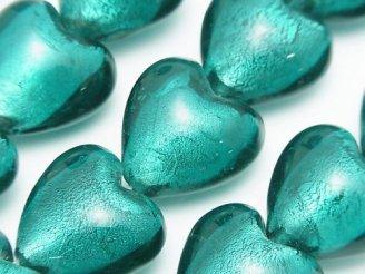 天然石卸 とんぼ玉 縦穴ハート20×20×13mm 【銀箔×ブルーグリーン】 半連/1連(約31cm)