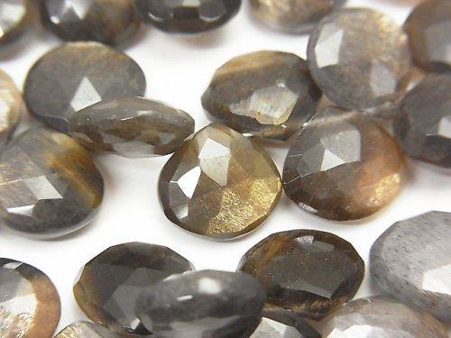 宝石質ゴールデンシャインムーンストーンAAA- マロン ブリオレットカット 半連/1連(約20cm)
