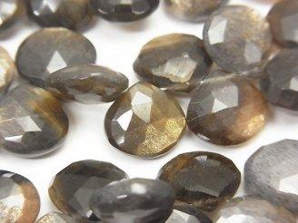 天然石卸 宝石質ゴールデンシャインムーンストーンAAA- マロン ブリオレットカット 半連/1連(約20cm)